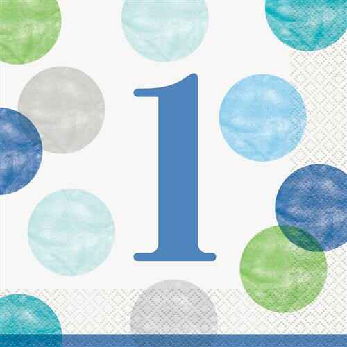 Servetten First Birthday Blue Dots