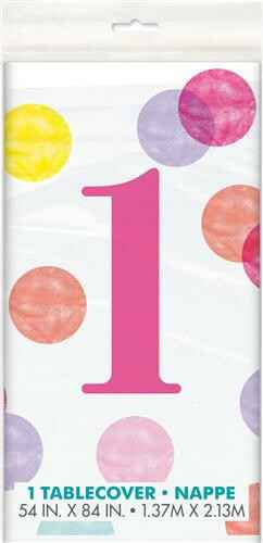 Tafelkleed First Birthday Pink Dots