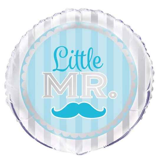 "Folieballon Blue Moustache ""Little Mr"""