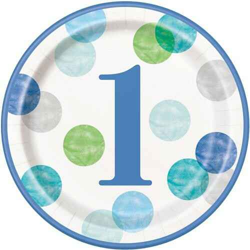 Bordjes First Birthday Blue Dots 23 cm