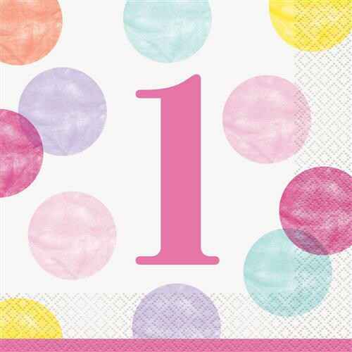 Servetten First Birthday Pink Dots