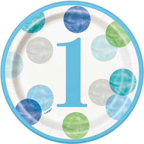 Bordjes First Birthday Blue Dots 18 cm