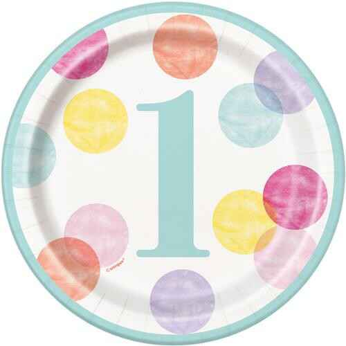 Bordjes First Birthday Pink Dots 18 cm
