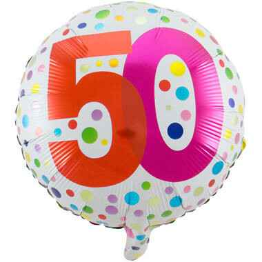 Folieballon 50 Jaar Happy Bday Stippen