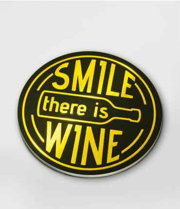 Onderzetters glossy Smile there is wine