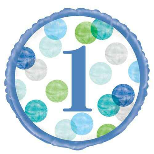 Folieballon Blue Dots First Birthday