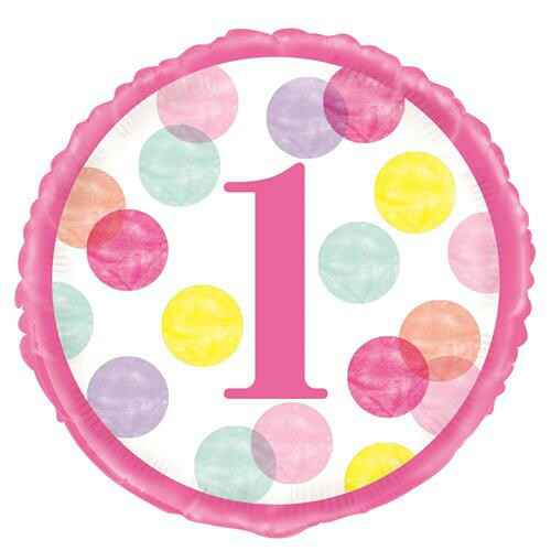 Folieballon Pink Dots First Birthday