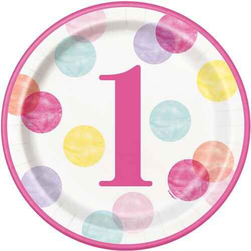 Bordjes First Birthday Pink Dots 23 cm