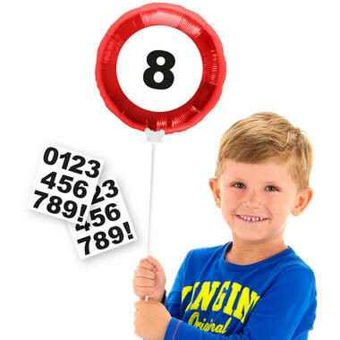 Mini Folieballon verkeersbord met stickers