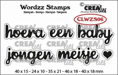 Crealies, Clearstamp, Wordzz, Hoera een Baby - CLWZS06
