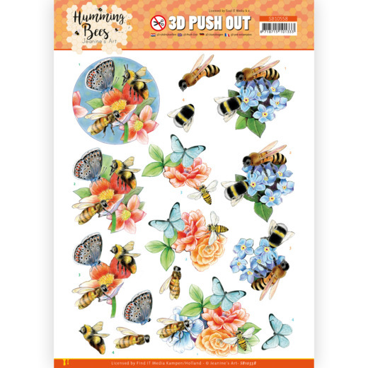 Jeanine's Art, 3D Push Out, Humming Bees, Bees and Bumblebee - SB10558