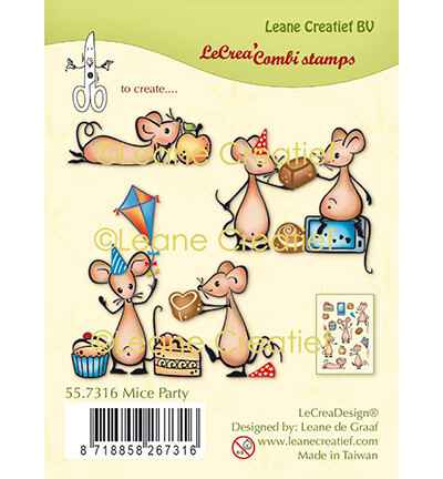 Leane Creatief, Clear Stamp, Muizen Party - 55.7316