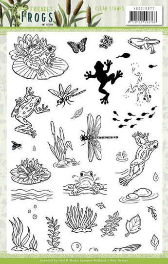 Amy Design, Clear Stamp, Friendly Frogs - ADCS10072