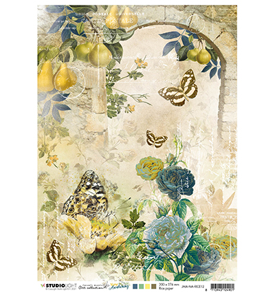 Studiolight, Rice Paper, Jenine's Mindful, New Awakening, Arch with roses & butterflies - JMA-NA-RICE12