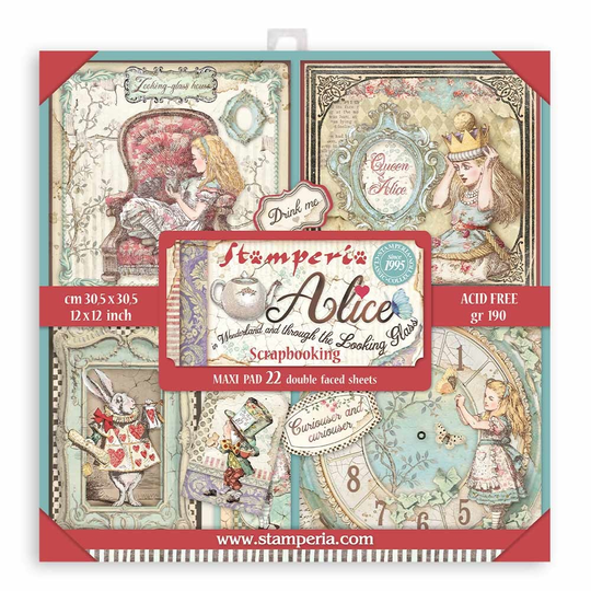 Stamperia, Maxi Paperpad, Alice Through the Looking Glass , 12x12 inch - SBBXL12