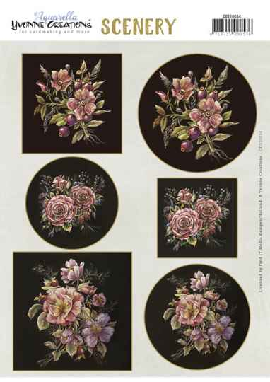 Yvonne Creations, Push Out Scenery, Aquarella, Antique Flowers - CDS10034
