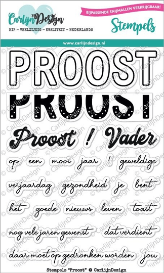 CarlijnDesign, Clear Stamp, Proost - CDST-0048