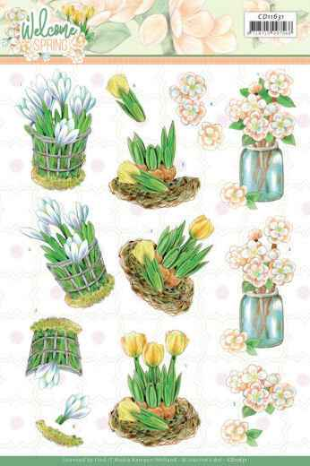 Jeanine's Art, 3D Knipvel, Welcome Spring, Yellow  Tulips  - CD11631