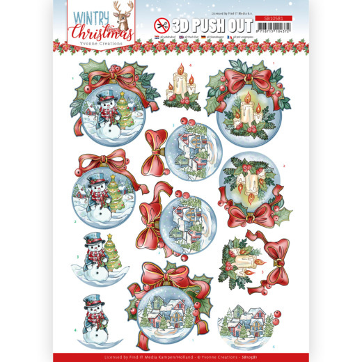 Yvonne Creations, 3D Push Out, Wintry Christmas, Christmas Baubles - SB10581