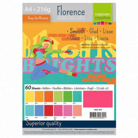 Florence, Cardstock Smooth, Brights , A4, 60 vel - 2927-307