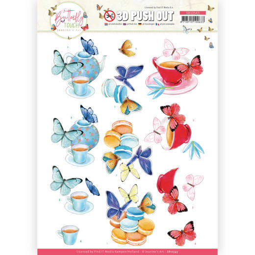 Jeanine's Art, 3D Push Out, Butterfly Touch, Blue Butterfly - SB10543