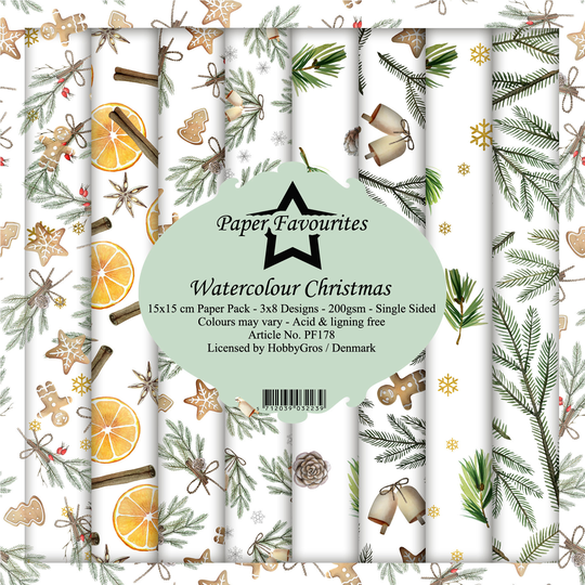 Paper Favourites, Paperpad, Watercolour Christmas , 6x6 inch - PF178