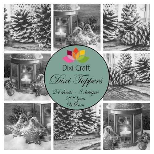 Dixi Craft, Toppers, Candle & Pinecones , Grey - ETL015