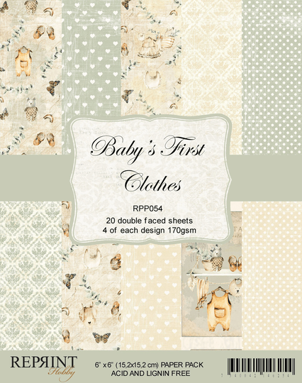 Reprint, Paperpad, Baby's First Clothes Collection , 6x6 inch - RPP054
