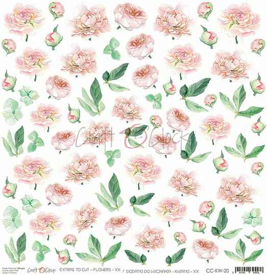 Craft O Clock, Scrapbookvel, Flowers nr. 20 - Sheet of Extra's to cut