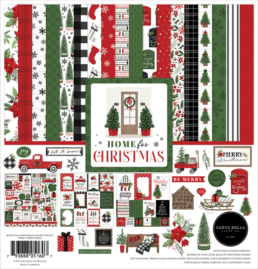 Carta Bella, Paperpad, Home for Christmas, 12 x 12 inch - CBHFC139016