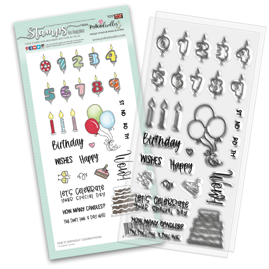 PolkaDoodles, Clear Stamp, Birthday Celebrations - PD8137