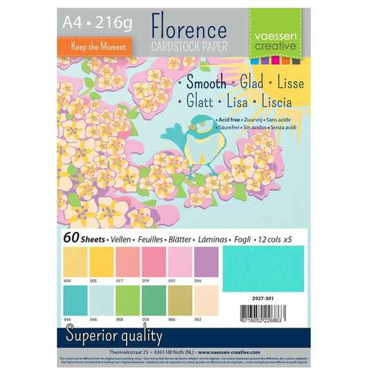 Florence, Cardstock Smooth, Spring , A4, 60 vel - 2927-301