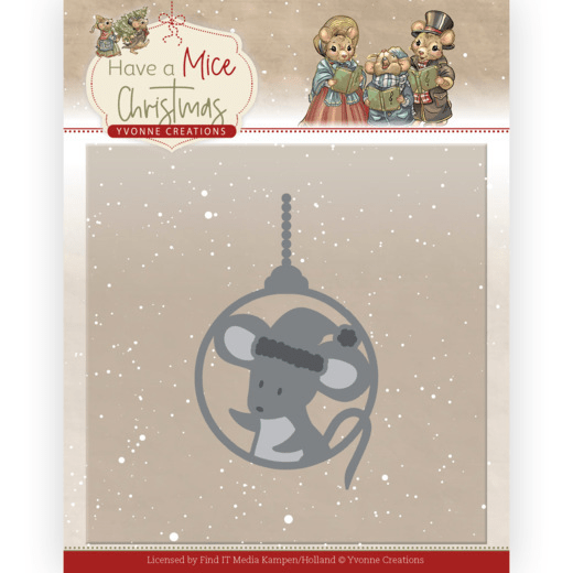Yvonne Creations, Snijmal, Have a Mice Christmas, Christmas Mouse Bauble - YCD10253