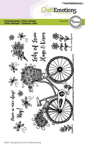 CraftEmotions, Clear Stamp, Fiets, Have a nice day - 130501/2702