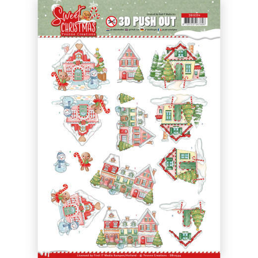 Yvonne Creations , 3D Push Out, Sweet Christmas, Sweet Houses - SB10394