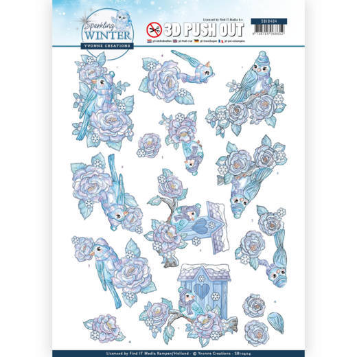 Yvonne Creations , 3D Push Out, Sparkling Winter, Winter Birds - SB10404