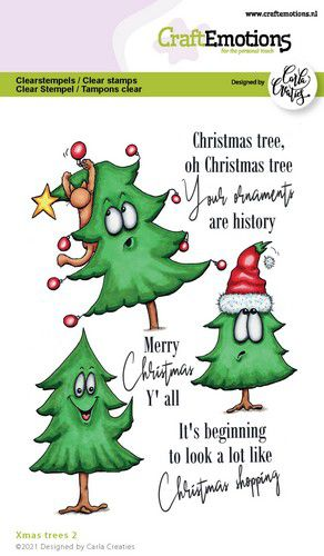 CraftEmotions, Clear Stamp, Carla Creaties,  Xmas Trees 2 - 130501/1522