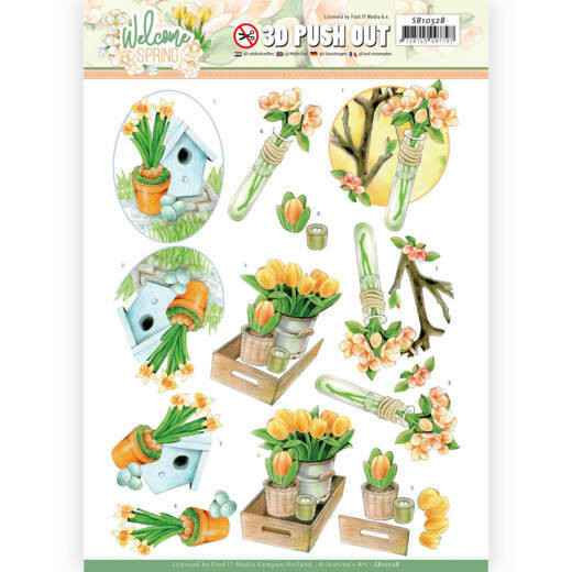 Jeanine's Art, 3D Push Out, Welcome Spring, Orange Tulips - SB10528