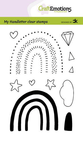 CraftEmotions, Clear Stamp, Carla Creaties, Handletter, Rainbow 3 - 130501/2211
