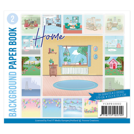Yvonne Creations, Paperpad, Background Paper Book 2 , Home - YCBPB10002