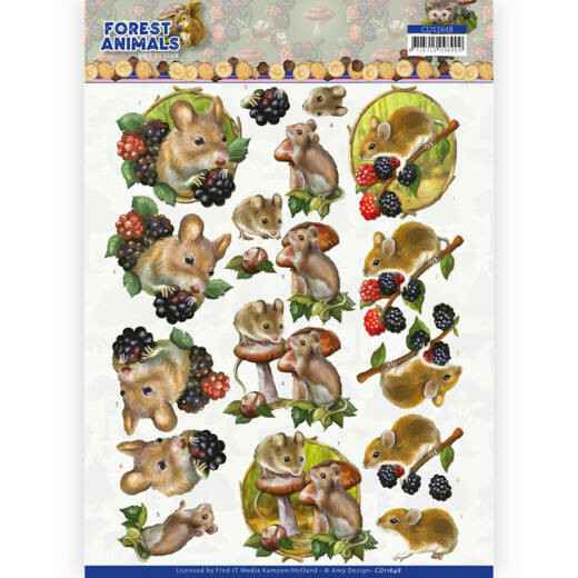 Amy Design, 3D Knipvel, Forest Animals, Mouse  - CD11648