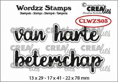 Crealies, Clearstamp, Wordzz, Van harte beterschap - CLWZS03