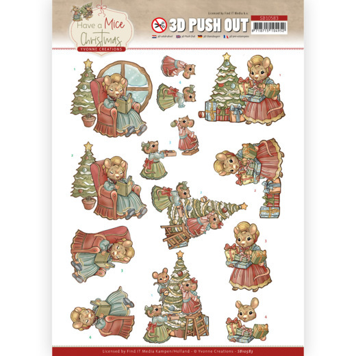 Yvonne Creations, 3D Push Out, Have a Mice Christmas, Decorating- SB10583