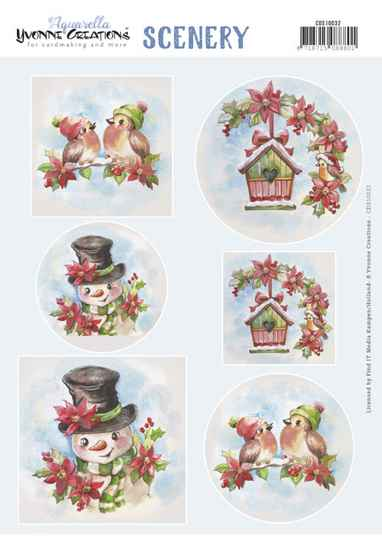 Yvonne Creations, Push Out, Scenery, Aquarella, Christmas Birds - CDS10032