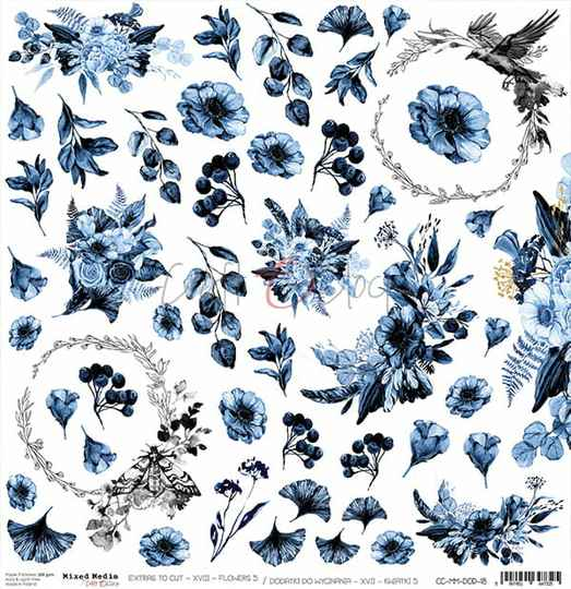 Craft O Clock, Scrapbookvel, Mixed Media, Flowers Nr. 5, A sheet of extra's to cut