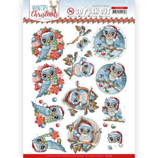 Yvonne Creations, 3D Push Out, Wintry Christmas, Christmas Owls - SB10580