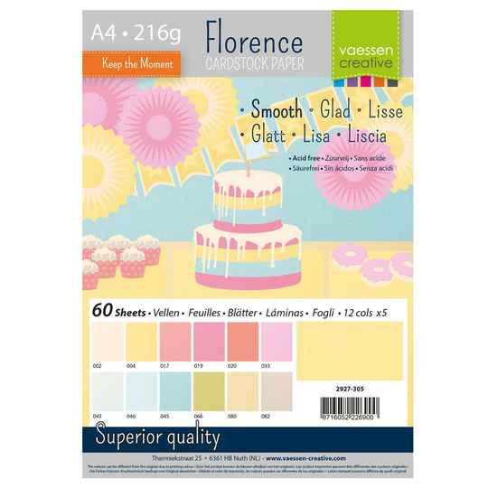Florence, Cardstock Smooth, Pastel, A4, 60 vel - 2927-305