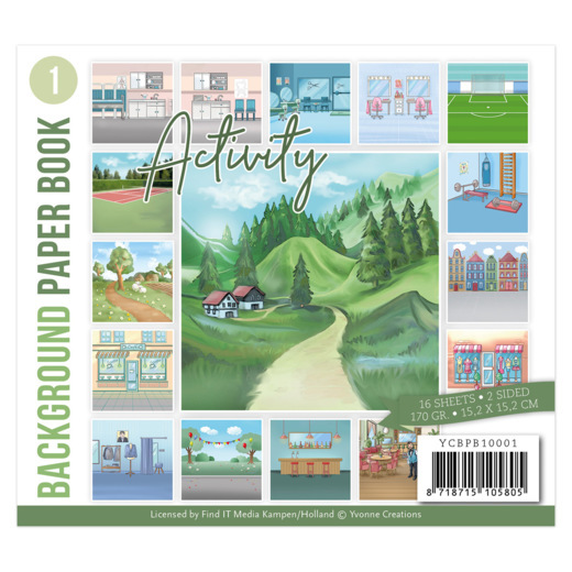 Yvonne Creations, Paperpad, Background Paper Book 1 , Activity - YCBPB10001