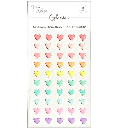 Julie Hickey Designs, Glossies, Mini Hearts, Cotton Candy - PS-GLOS-001