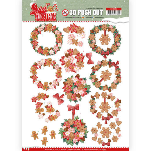 Yvonne Creations, 3D Push Out, Sweet Christmas, Sweet Wreaths - SB10395